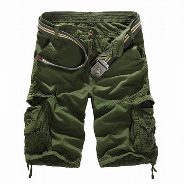 SHUJIN New 2019 Men Cargo Shorts Casual Loose Short Pants Camouflage Military Summer Style Knee Length Plus Size 8 Colors Short