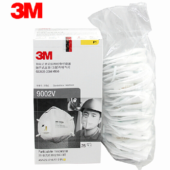 3M 9002V Dust Masks 25pcs/box PM2.5 KN90 Headband Breathable Cool Flow Safety Folded Mask Dust Mask Worker Protection H0000