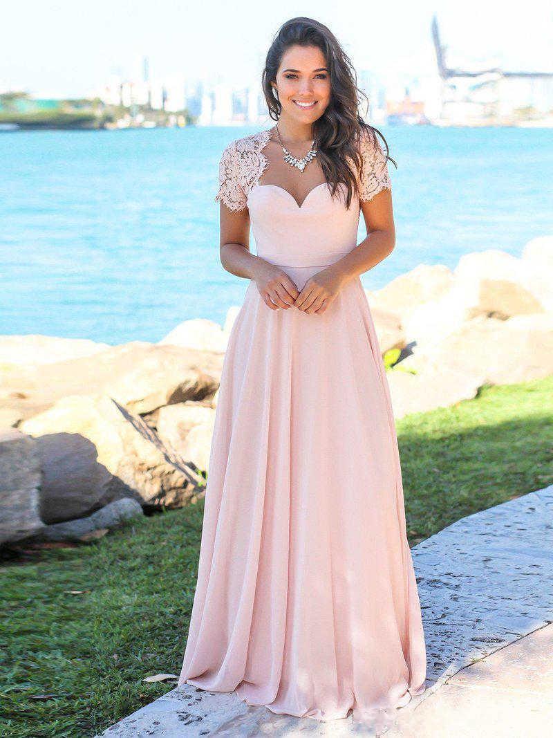 Erröten Rosa Land Brautjungfer Kleider Schatz Backless Spitze Chiffon  Strand Garten Hochzeit Gast Kleider Maid Of Honor Kleider