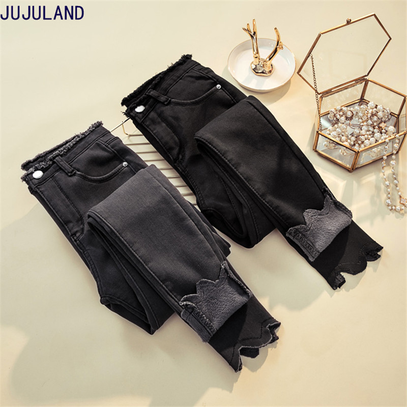 JUJULAND 2018 Jeans Female Denim Pants Black Color Womens Jeans Donna Stretch Bottoms Extra thick jeans Women Trousers in Jeans from Women 39 s Clothing