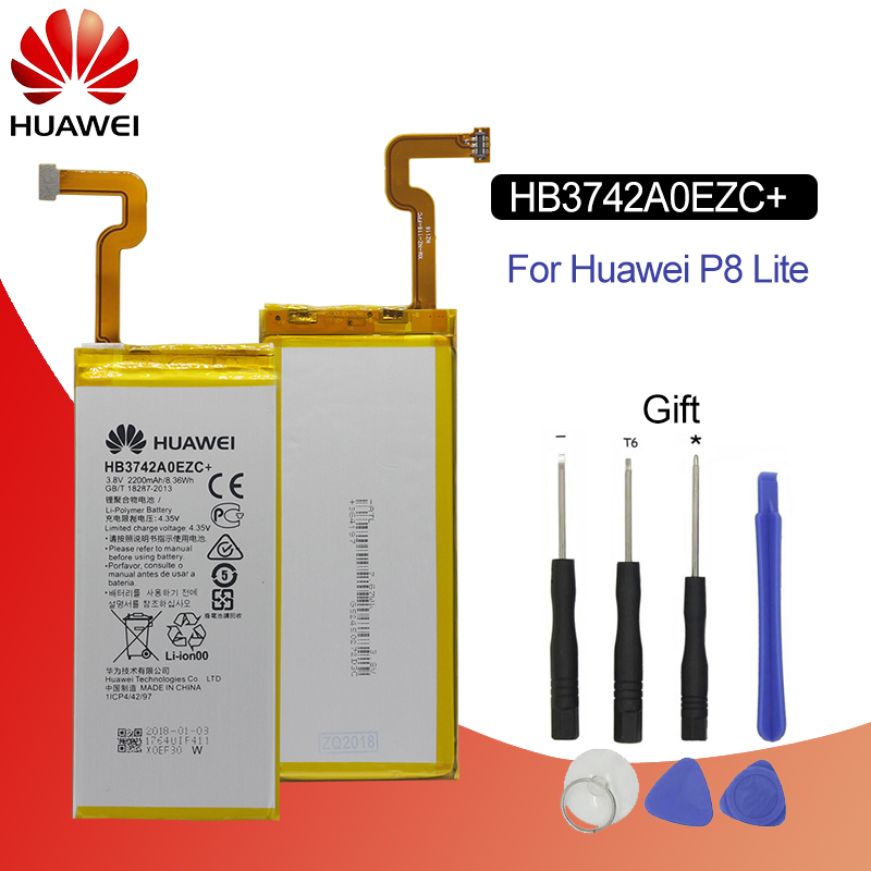 Hua Wei Original Phone Battery HB3742A0EZC+ Real 2200mAh for Huawei Ascend P8 Lite Replacement Batteries Free Tools-in Mobile Phone Batteries from Cellphones & Telecommunications