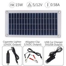 15W 12V 5V Solar Panel USB Portable Power Bank Board External Battery Charging Solar Cell Board DIY Clips Outdoor Travelling