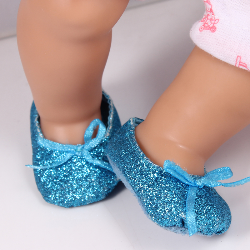 New Arrival Blue Glitter Shoes For 43cm Doll Baby Born Zapf Baby Doll Accessories Shoes As12