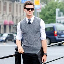 Soft Wool Mens Sleeveless Sweaters High Quality Fashion Pure Colors Mens V Neck Sweater Brand Clothes Slim fit Male Vest Sweater