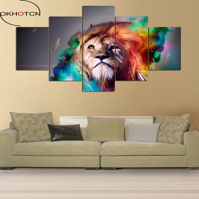 canvas prints for living room ideas uk blue wall art painting colour lion animal home decor framed 5 pieces background decoration