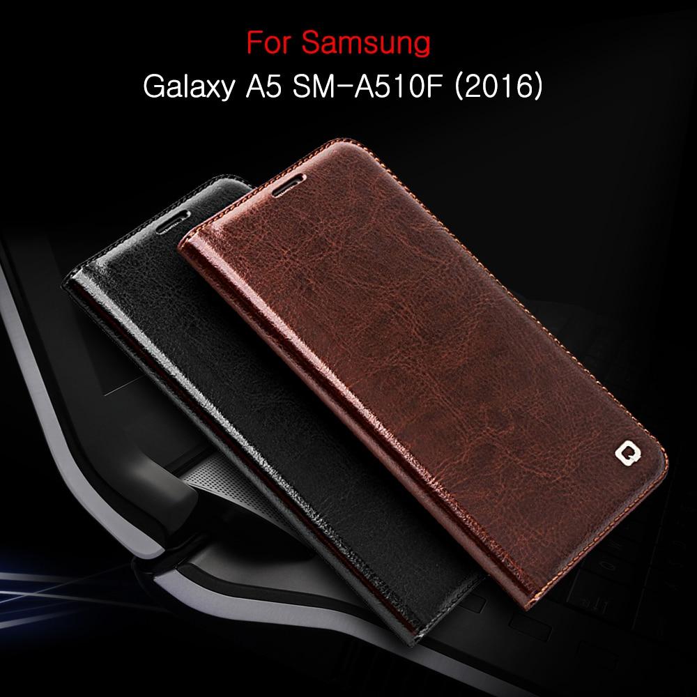 imágenes para Capa Coque bolsa para la Galaxia A5 SM-A510F QIALINO 2016 5.2 ''Titular de la Tarjeta de Cuero genuino Original para Samsung Galaxy A5 SM-A510F 2016