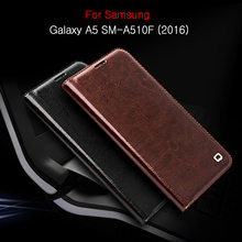QIALINO Case for Galaxy A5 SM-A510F 2016 5.2 inch Luxury Genuine Leather Card Holder Cover for Samsung Galaxy A5 SM-A510F 2016