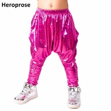 Heroprose Brand 2018 New personality pink big crotch trousers stage performance costumes harem hip hop skinny pants for kids