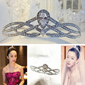 2016 new Beautiful water glittering silver crystal head with big wedding event tire crown the bride the bride's hair jewelry
