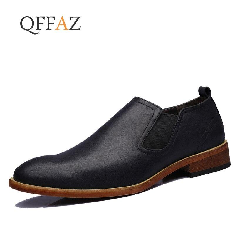 QFFAZ Italian Classic Dress Men Shoes Leather Formal Luxury Brand Male Footwear Designer Office Slip On