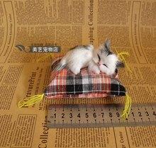 simulation mini sleeping cat toy polyethylene & furs small gray cat model doll about 9x4x4cm