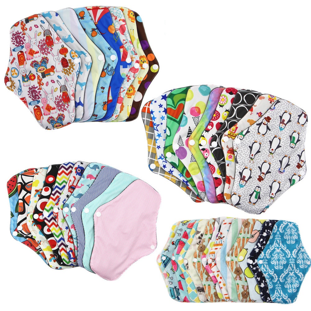 Soft Random Color Bamboo Cotton Sanitary Period Nappy Absorbent Feminine Washable Reusable Towel Pads Women Menstrual Cloth