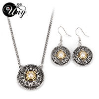 Hot Sale Promotion Fashion Gold Plated Pearl Pendant Necklace Earrings Bridal Jewelry Sets Chrismas Birthday Gift