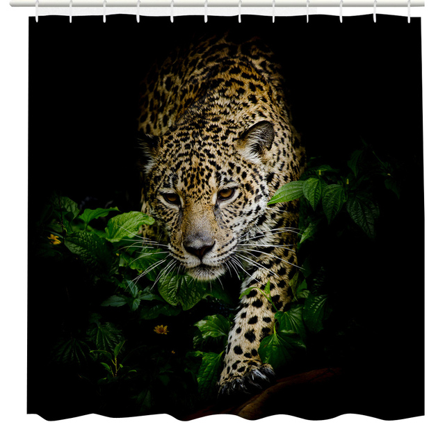 3D Leopard Print Shower Curtain Customized Waterproof Bathroom Polyester For 180x180cm
