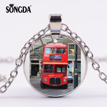 SONGDA New Listing London Double Decker Bus Cartoon Necklace London City Life Red Travel Bus Photo Glass Dome Time Gem Jewelry(China)