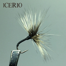 ICERIO 10PCS New Light Grey Umbrella Reverse Hackle Tenkara Trout Fly Fishing Lures #12