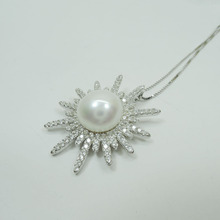 100% nature fresh-water round pearl necklace with S925 silver chain-top fashion style