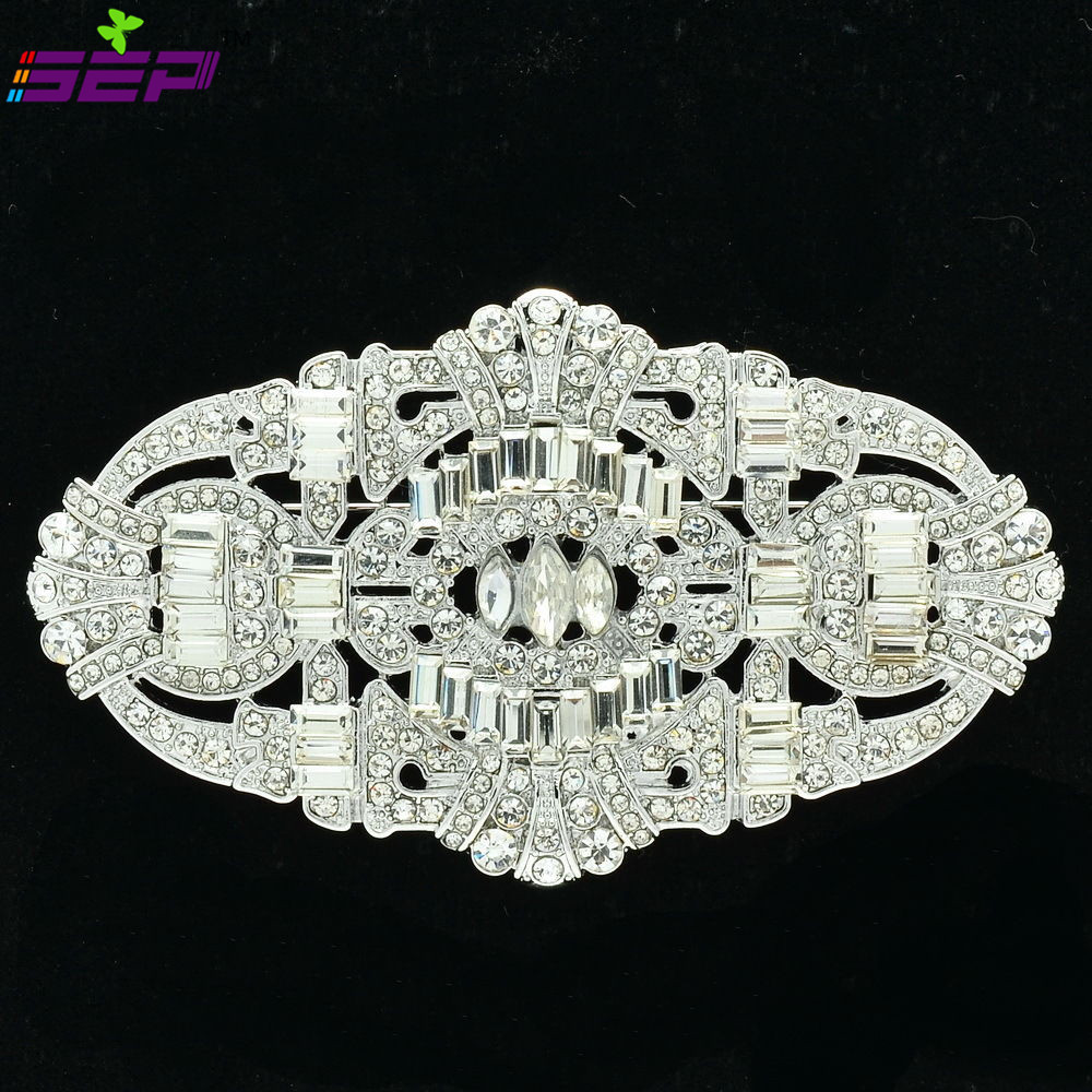 Clear Rhinestone Crystal Brooches Vintage Style Pins Broaches Women Wedding Jewelry Accessories 5186