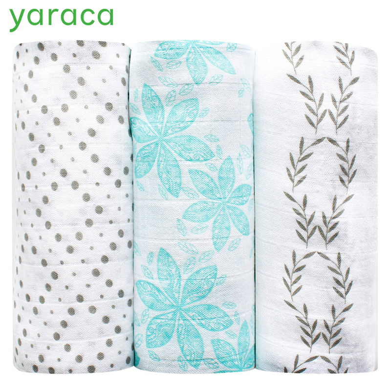 3Pcs Pack Bamboo Muslin Cotton Baby Blankets Newborn Infant Swaddles Soft Hold Wraps Bath Towel