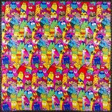 Шелк женский шарф Красочные Кошки щелковая бандана Топ хиджаб печать Средний квадратный шелковый шарф роскошный подарок для леди
