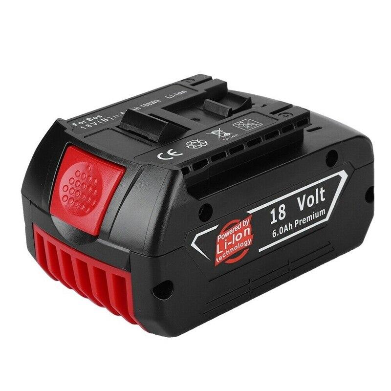 GTF 18 V 6A batterie de remplacement Li-ion 6000 mAh batteries au lithium rechargeables avec lampe pour Bosch BAT609 BAT609G BAT618 BAT618G