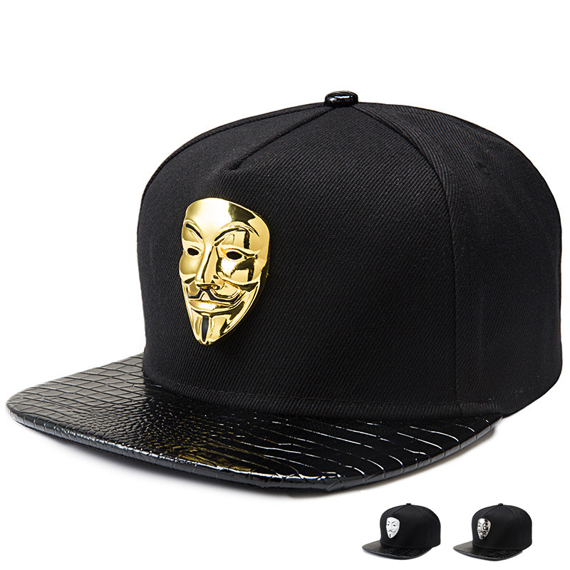 2016 Vogue Bling V for Vendetta Baseball Caps Golf Straight Flap Bone Fawkes Fancy Mask Snapback hip hop DJ hats men women gift