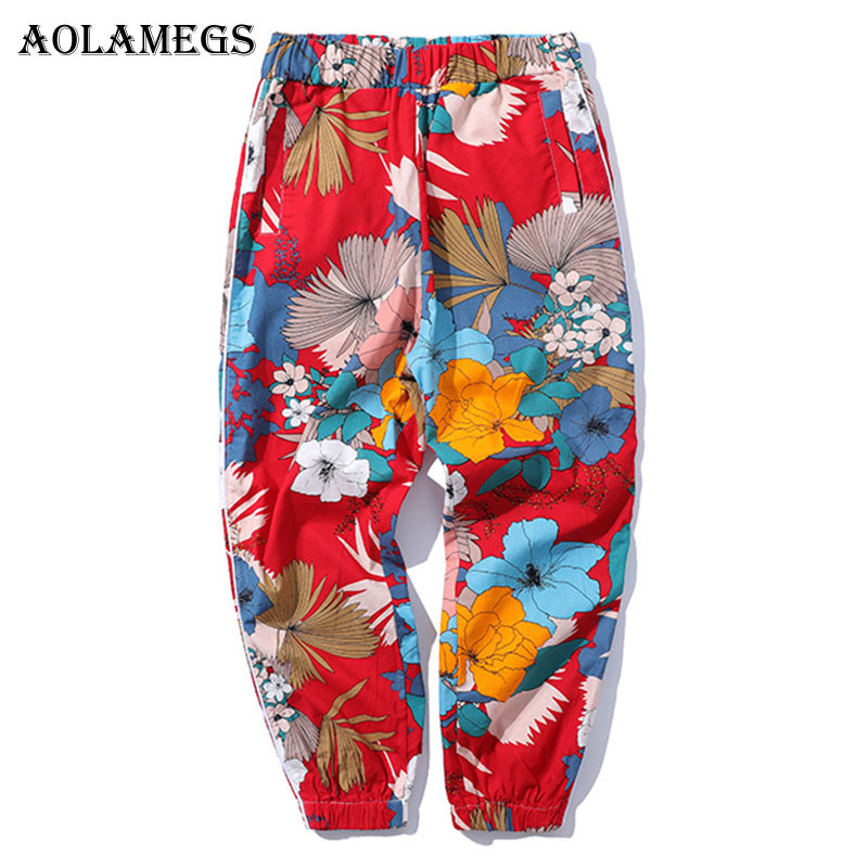 Aolamegs Pants Men Floral Printed Pants Track Pants Straight Elastic Waist Fashion High Steet Joggers Sweatpants 2018 Streetwear