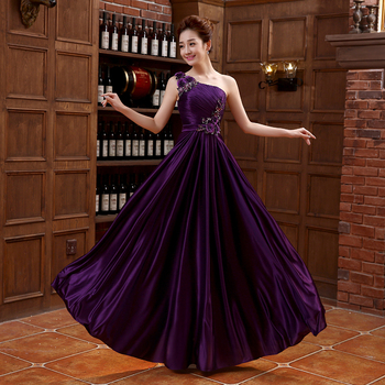 Brand New Long Evening Dresses Elegant Purple One Shoulder Bride Gown Ball Prom Party Homecoming/Graduation Formal Dress