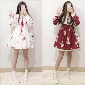 Платье в стиле Лолиты с милым кроликом в японском стиле; Kawaii; Платье принцессы для девочек; Винтажная Готическая кружевная юбка с принтом; Цв...