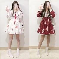 Lolita Dress Sweet Rabbit Cute Japanese Kawaii Girls Princess Maid Vintage Gothic Printed Patterns Lace White Red Summer Skirt