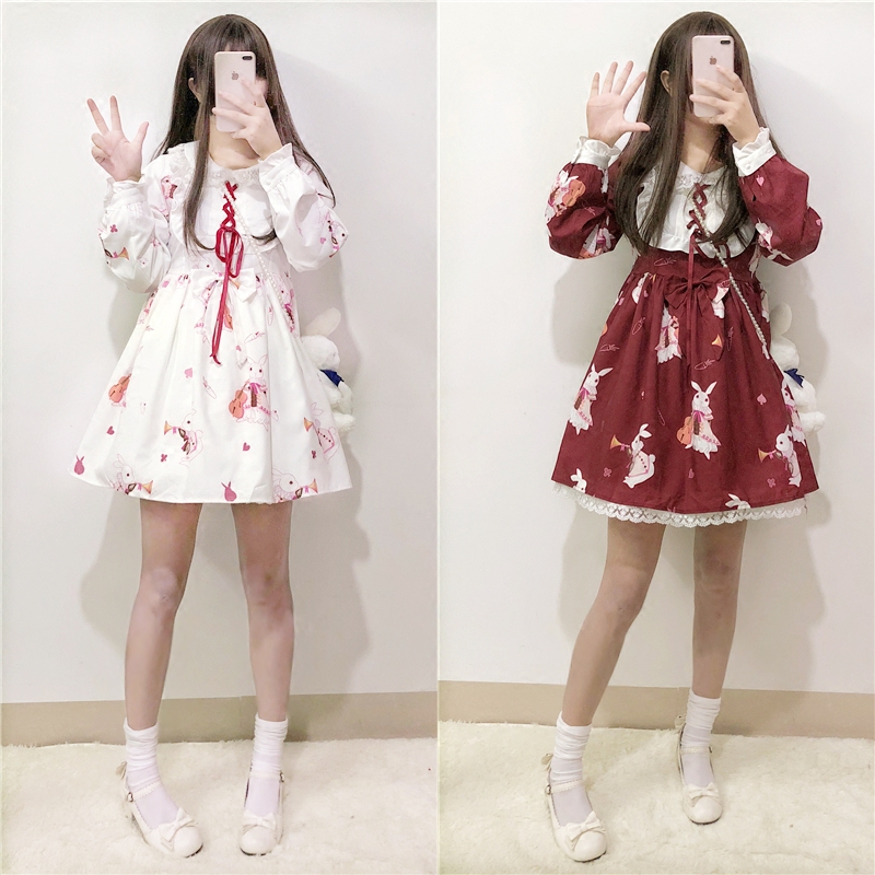 <font><b>Lolita</b></font> <font><b>Dress</b></font> Sweet Rabbit Cute Japanese Kawaii Girls Princess Maid Vintage Gothic Printed Patterns Lace White Red Summer Skirt image