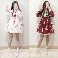 Lolita Dress Sweet Rabbit Cute Japanese Kawaii Girls Princess Maid Vintage Gothic Printed Patterns Lace White Red Summer Skirt