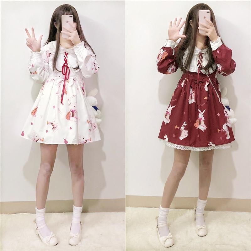 Lolita Robe Doux Lapin Mignon Japonais Kawaii Filles Princesse Fille Vintage Gothique Motifs Imprimés Dentelle Blanc Rouge D'été Jupe