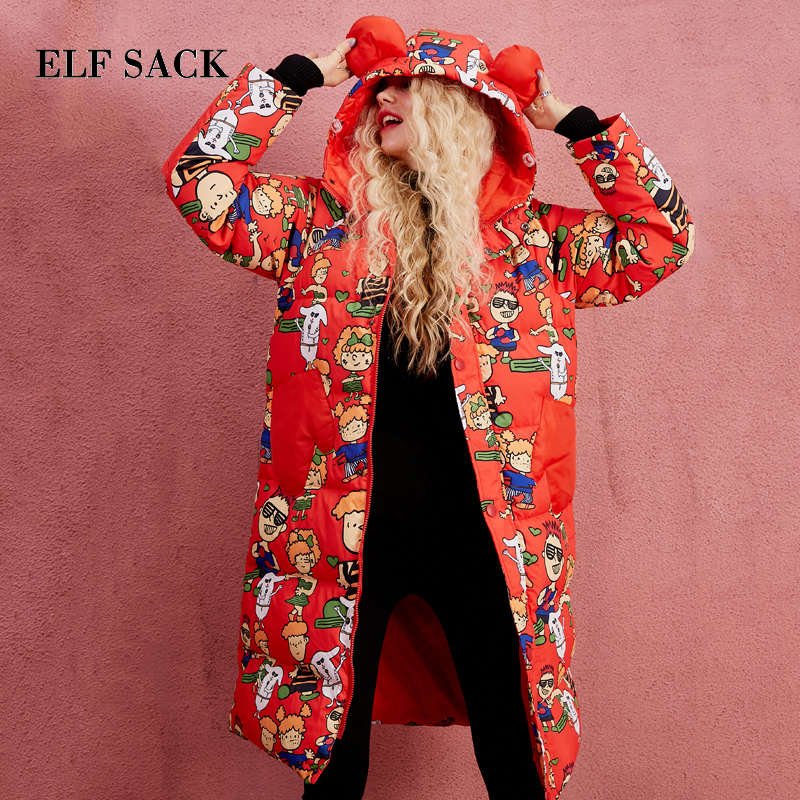 ELF SACK Winter Women Straight Down Coats Hooded Character Prints Red Womens Long Girls Sweet Cute Outerwear