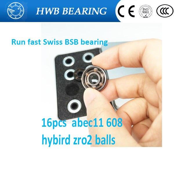 Free shipping 16pcs Ceramic inline speed skate 6 balls bearings 608 8*22*7mm ABEC11 FreeLine Skate bearing  roller skate wheels