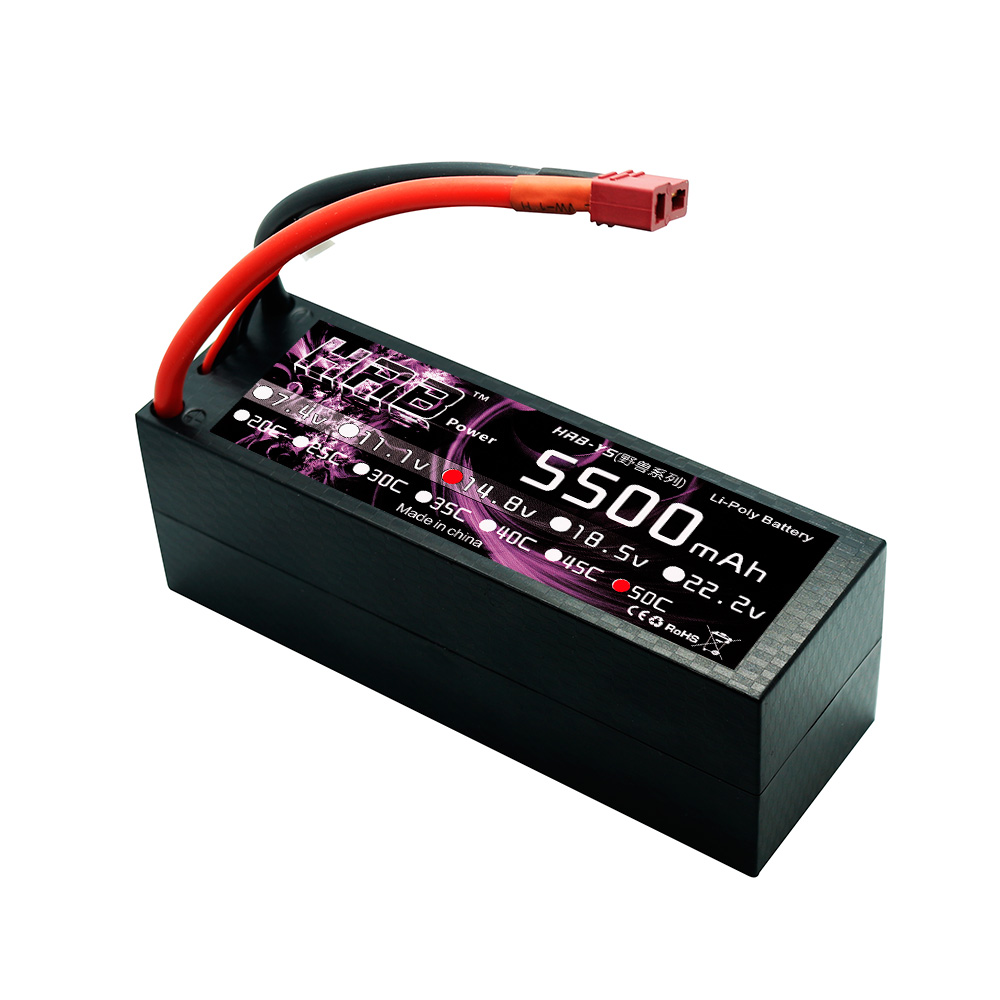 HRB Lipo 4S Battery 14 8V 5500mah 50C Max 100C Hard Case For RC Truck Helicopters