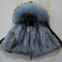Winter thick warm real fur jacket Light blue real raccoon fur collar fox fur lining short style parka