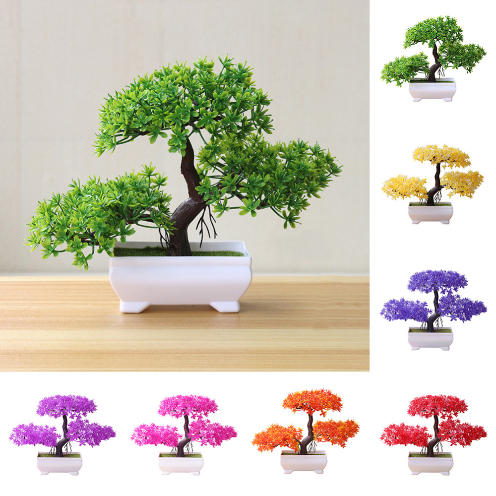 Artificial Flowers Fake Green Pot Welcoming Pine Bonsai Simulation Artificial Potted Plant Ornament Home Decor