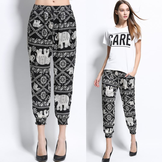 New 2017 Spring Summer Pants Women Print Ankle-Length Pants Ladies Elastic Waist Casual Trousers Plus Size Women Clothing