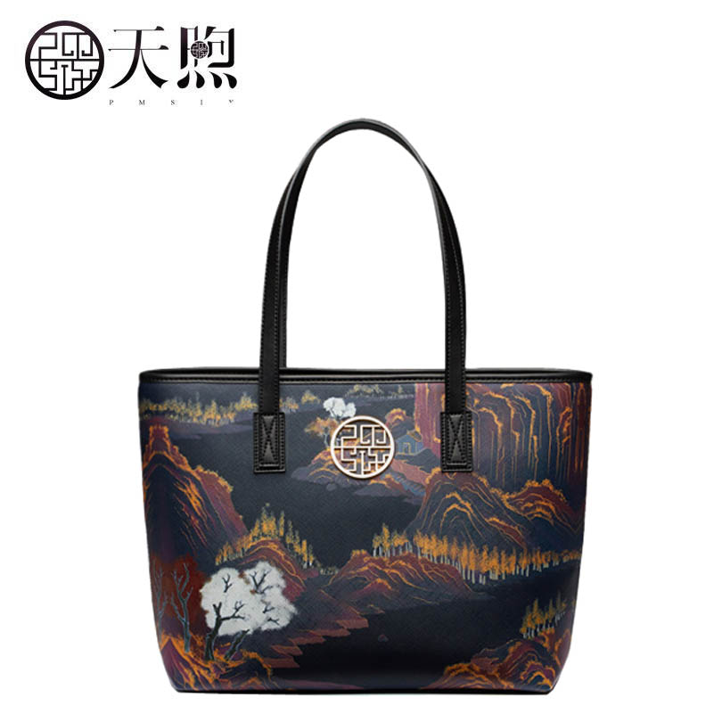 Famous brand top quality dermis women bag Pmsix autumn and winter new tote bag Chinese style original design package handbag