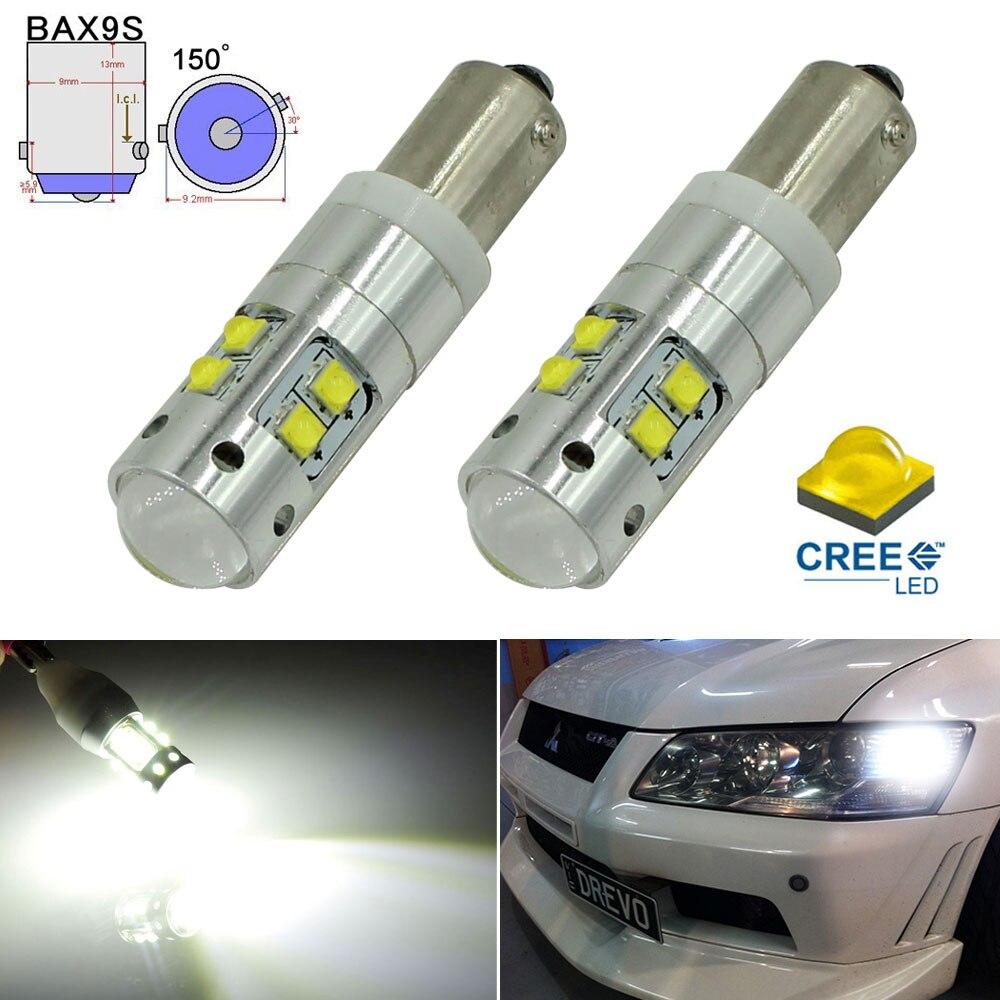 KAMMURI 6000K Xenon White High Power 50W 10CREE XB-D BAX9S H6W LED Bulbs For Car Parking Light DRL Backup Reversing Brake Light