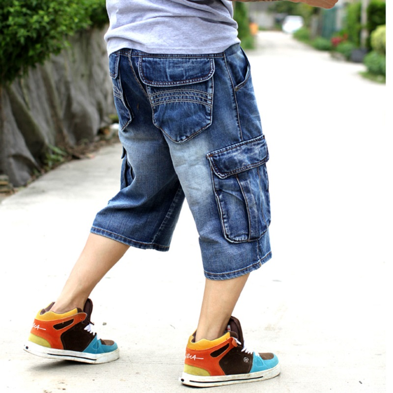 2017 Fashion Men Casual Multi-pocket Capris Jeans Hiphop Street Loose Plus Size Skateboard Male Pants Capris 2014 new fashion reminisced men vintage trousers casual jeans wash capris pants loose plus size overalls zipper denim jumpsuit