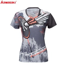 KAWASAKI Tennis  T-shirt Fitness Compression Clothing Short Sleeve V Neck Sports Shirt For Ladies Sportswear Badminton ST-S2105