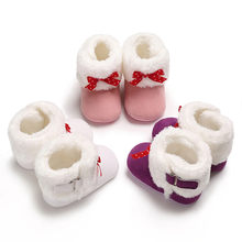 Baby Girl Soft Booties Bow Pure Color Snow Boots Toddler Warm Shoes(China)