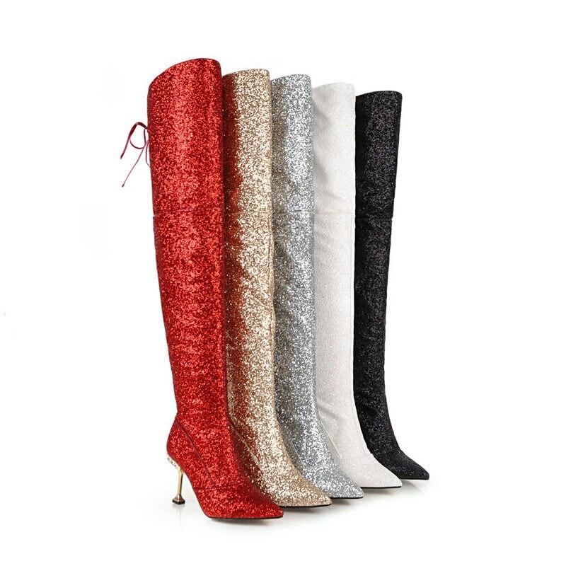 Hauts rouge blanc Robe Genou Le Chaussures Hiver Haute Chaud Bling Noir De Mariage Sur Femme Taille argent Femmes Bottes Dames Talons 43 Partie Danse or Brillant hrdCoQxstB