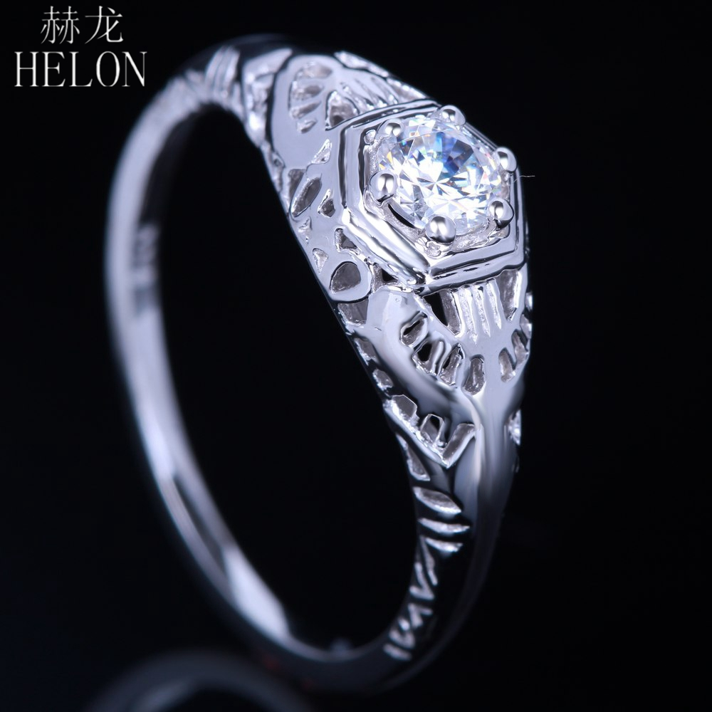 HELON Real Sterling Silver 925 Flawless Round 0.3ct Genuine Moissanite Engagement Wedding Ring For Women Vintage Party JewelryHELON Real Sterling Silver 925 Flawless Round 0.3ct Genuine Moissanite Engagement Wedding Ring For Women Vintage Party Jewelry