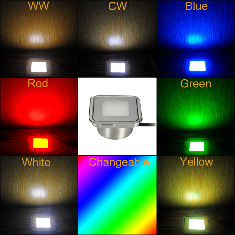 0 6W Stainless Steel LED Inground Lamp DC12V Outdoor Stair Light with Insert Box Set of 20 R G B Y WW CW W RGB in LED Underground Lamps from Lights Lighting