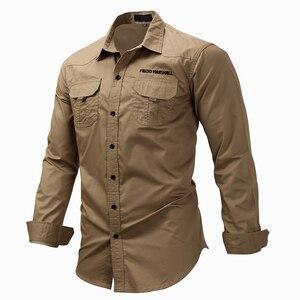 Image 2 - MAGCOMSEN erkek gömlek sonbahar uzun kollu pamuk kargo gömlek rahat elbise gömlek erkekler askeri ordu taktik kentsel iş gömlekleri