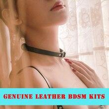 Real Leather BDSM Toys Tool Kits Bondage Genuine Necklace Adult Games Sadism Choker Neck Lace SM