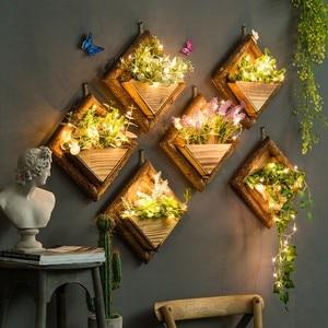 Breve jarrón de pared de madera de Color sólido flor Artificial de Color piedra titular floreros colgantes Bonsai para artesanías para decoración del hogar para regalo